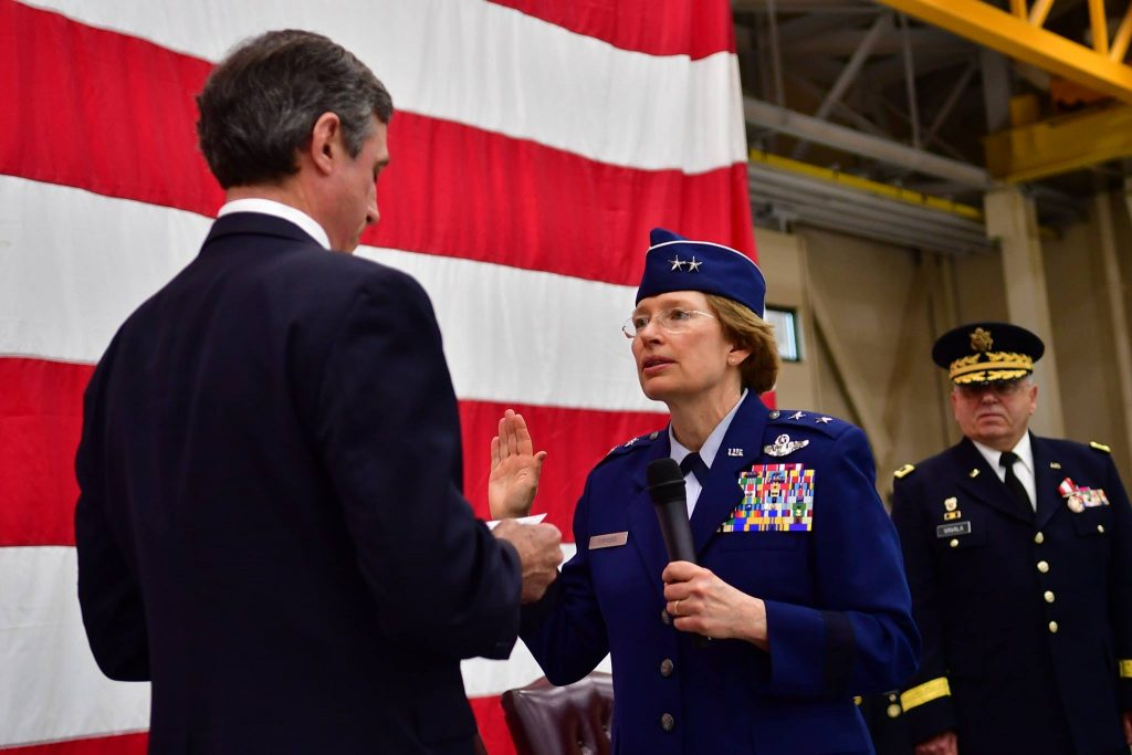 Maj. Gen. Carol Timmons is sworn in by Gov. John C. Carney Jr.