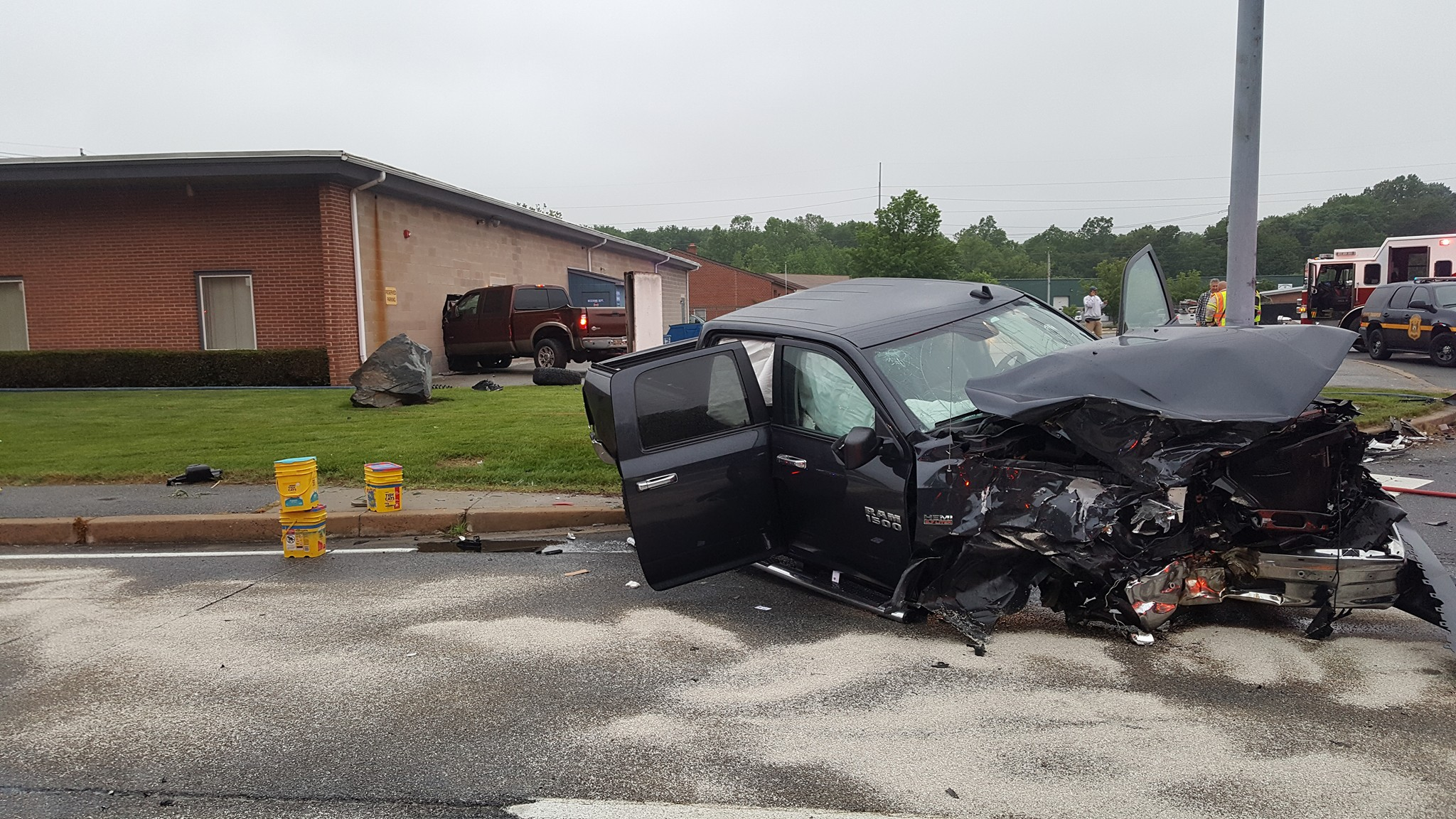 Truck Accident Into Building Route