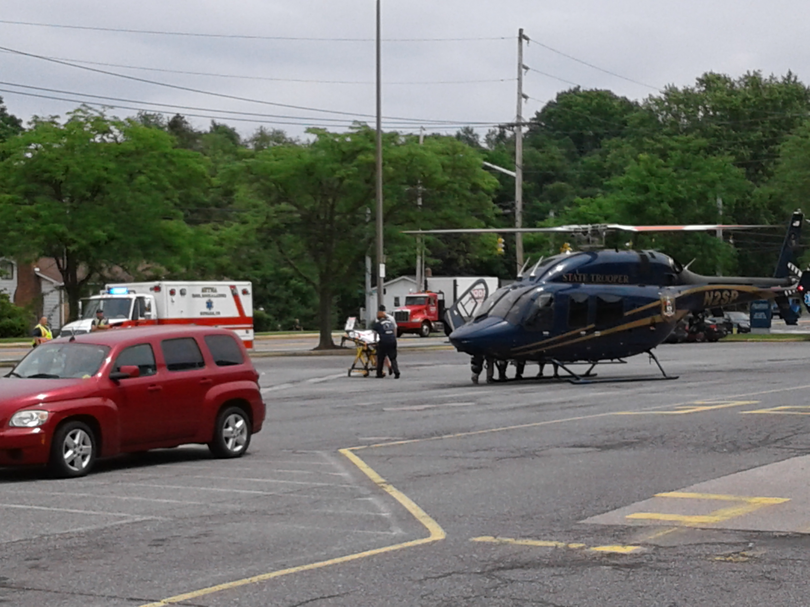 Motorcycle Accident In Newark Helicopter Lands At