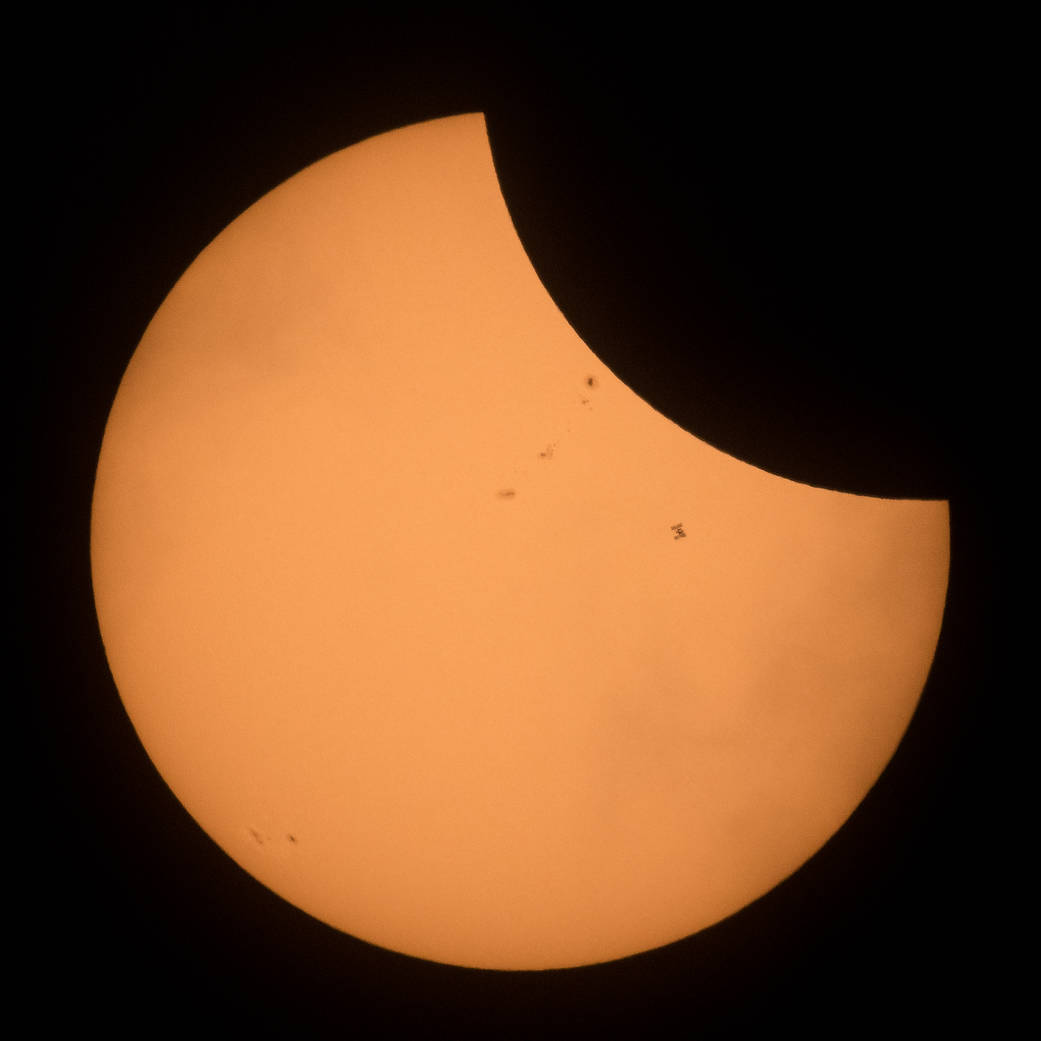 International Space Station seen crossing path of sun during solar eclipse