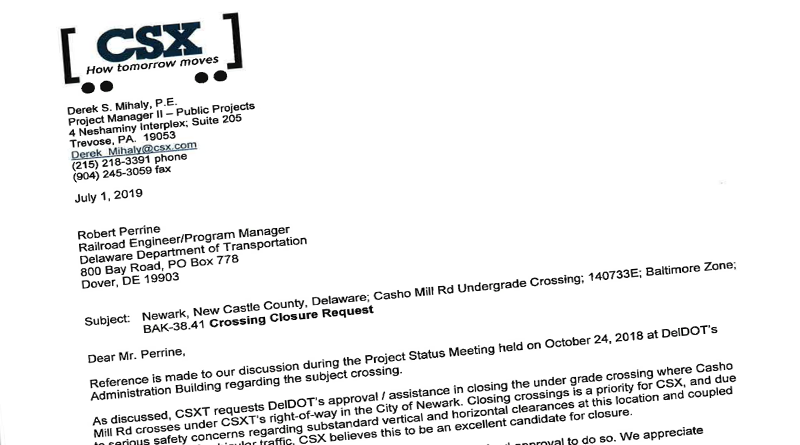 CSX Asked DelDOT For Assistance In Closing The Casho Mill
